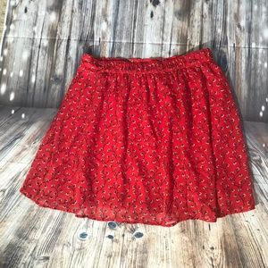 Old Navy Red Floral Skater Skirt in Size Small